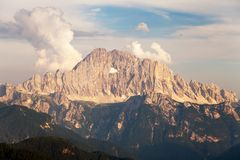 Evening view of Mount Civetta Stock Photos