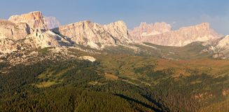 Evening view from mount Col DI Lana to gruppo Nuvolau Stock Photos