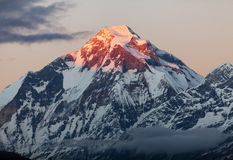 Evening view of mount Dhaulagiri. Nepal stock images