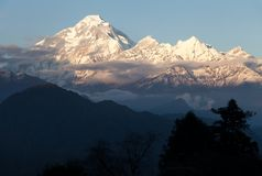 Evening view of mount Dhaulagiri Royalty Free Stock Photos