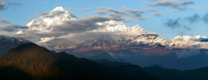 Evening view of mount Dhaulagiri Stock Photo