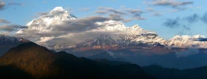 Evening view of mount Dhaulagiri. Nepal stock photo
