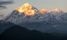 Evening view of mount Dhaulagiri Royalty Free Stock Photo
