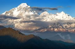 Evening view of mount Dhaulagiri. Nepal royalty free stock images