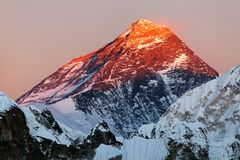 Evening view of Mount Everest from gokyo valley Royalty Free Stock Photos