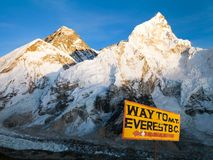Evening view of Mount Everest from Kala Patthar. And signpost way to mount everest b.c. - treking road to Everest base camp - sagarmatha national park - Nepal Royalty Free Stock Image
