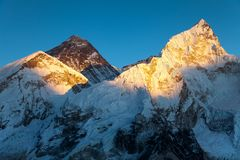 Evening view of Mount Everest from Kala Patthar Royalty Free Stock Image