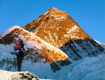 Evening view of Mount Everest with tourist Stock Photo