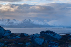 Evening view of the mountain on the Lofoten Royalty Free Stock Image
