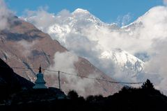 Evening view of Mt. Everest. View of Mt. Everest and stupa above Namche Bazaar from route to Tengboche, Namche Bazaar, Solu Khumbu, Nepal Stock Photos