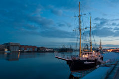 Evening view of the Neva river on a background of yachts Royalty Free Stock Photo