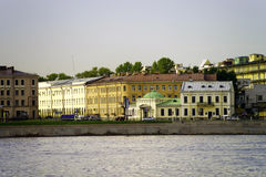 Evening view of Neva river bank, St. Petersburg, Russia Royalty Free Stock Photo