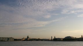Evening view of Neva river in Saint-Petersburg. View of Winter Palace Isaak's cathedral Admiralty and Vasilievsky Island in evening time Royalty Free Stock Images