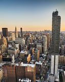 Evening view of New York City. Evening view from a high building of Midtown, New York City royalty free stock photos