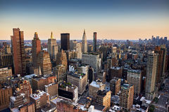 Evening view of New York City. Evening view from a high building of Midtown, New York City royalty free stock photo