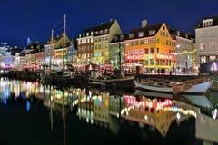 Evening view of Nyhavn in Copenhagen, Denmark Royalty Free Stock Photo