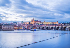 Evening view of the old Prague castle, Charles bridge and Mala Strana side Stock Images