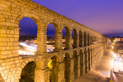 Evening view of old roman aqueduct at Segovia Stock Photo