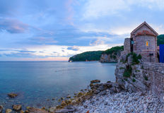 Evening View of Old Town of Budva. Montenegro, Balkans, Europe Stock Image