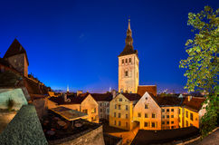 Evening View of Old Town and Saint Nicholas (Niguliste) Church Stock Photo