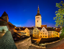 Evening View of Old Town and Saint Nicholas (Niguliste) Church Stock Photography