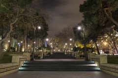 Evening view of one of Baku`s park. royalty free stock photos