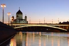 Evening view of Orthodox church of Christ the Savior and Big Stone bridge. Stock Image
