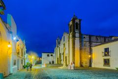 Our Lady of the Lagoon church, in Monsaraz. Evening view of Our Lady of the Lagoon church, and Direita street, in Monsaraz, Portugal Stock Photography