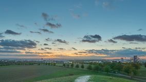 Evening view on the outskirts of Hanover stock footage