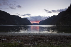 Evening view over fjord in norway Royalty Free Stock Photos