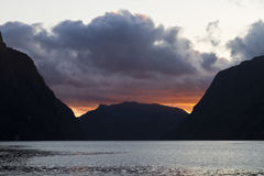Evening view over fjord in norway Stock Images