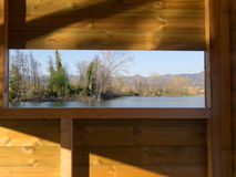 Evening view over lake from hide - Sarzana, Italy Royalty Free Stock Photos