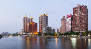Evening view over Love River. The Love River or Ai River or DPP River is a river (canal) in southern Taiwan. It originates in Renw Royalty Free Stock Images