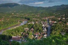 Evening view over Luang Prabang, Laos Royalty Free Stock Photos