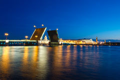 Evening view of Palace Bridge, st. Petersburg Royalty Free Stock Images