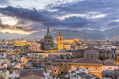 Evening view of Palermo. Beautiful evening view of Palermo, Sicily. Italy Stock Photos