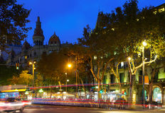 Evening view of Passeig de Gracia in  Barcelona, Catalonia Royalty Free Stock Photography