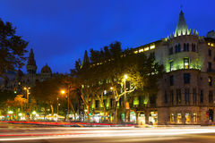 Evening view of Passeig de Gracia in  Barcelona Stock Images