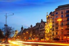 Evening view of Passeig de Gracia in Barcelona Stock Image