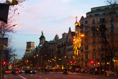 Evening view of Passeig de Gracia in Barcelona Stock Photography