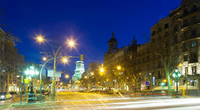 Evening view of Passeig de Gracia in winter Stock Image