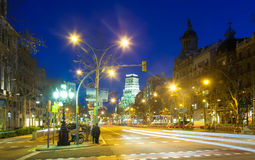 Evening view of Passeig de Gracia in winter time Royalty Free Stock Photography