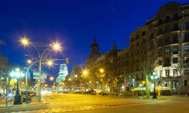 Evening view of Passeig de Gracia in winter time Royalty Free Stock Photo
