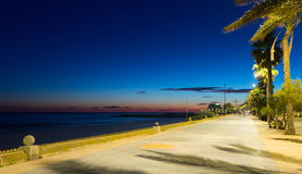 Evening view of pavement embankment in Sitges Royalty Free Stock Photography