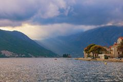Evening view of Perast town and island of St. George.  Bay of Kotor, Montenegro Royalty Free Stock Photos