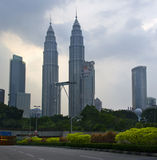 Evening view of The Petronas Twin Towers royalty free stock image
