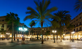 Evening view of Placa Reial in  Barcelona Stock Photography