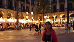 Evening view of Placa Reial in summer. Barcelona Stock Images