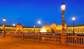 Evening   view of Plaza de Espana with fence Royalty Free Stock Images