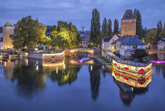 Evening view on Pont Couverts from Vauban dam Stock Photography